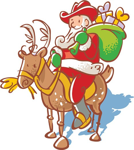 Santa Claus in a cowboy hat with a sack of toys riding a reindeer : Stock Photo