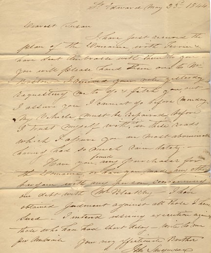 Stock Photo: 1538R-54570 An old handwritten letter from 1844