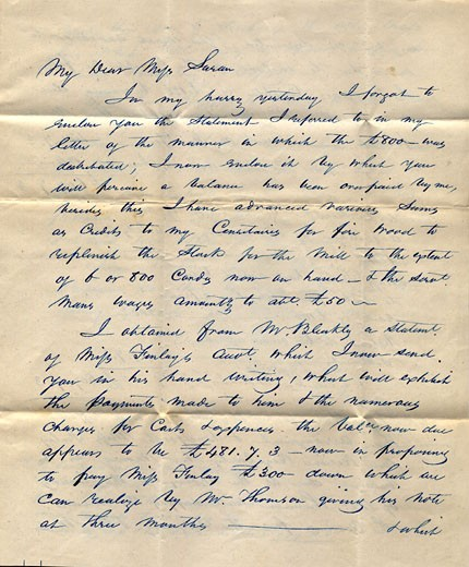 Stock Photo: 1538R-54575 A vintage letter handwritten in ink from the mid-19th century