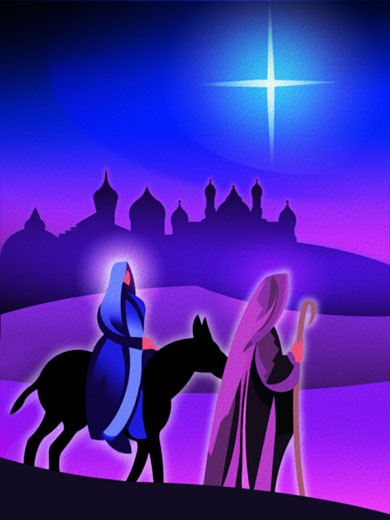 Joseph and Mary traveling by donkey with the Star of Bethlehem and Jerusalem in the background : Stock Photo