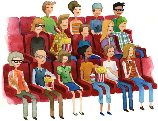 Stock Photo: 1538R-59681 A watercolor illustration of people in a movie theater