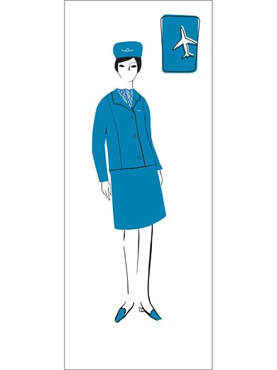 A retro illustration of a female flight attendant : Stock Photo
