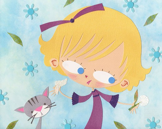 Stock Photo: 1538R-59741 A paper cut illustration of a girl with allergies surrounded by flowers and next to a cat