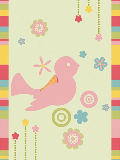 A decorative illustration with a bird and flowers : Stock Photo