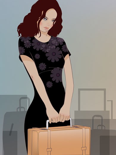 A woman holding a suitcase and luggage behind her : Stock Photo
