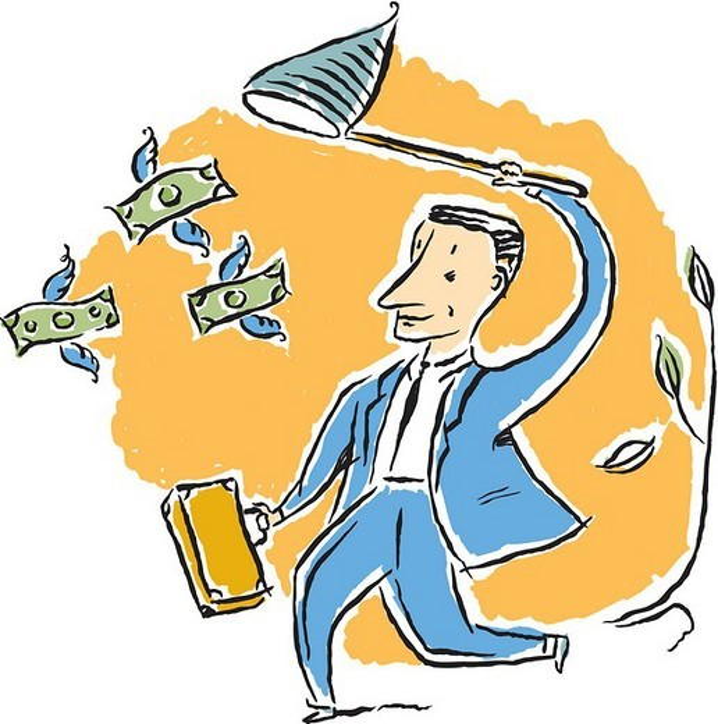 Stock Photo: 1538R-60759 man chasing money