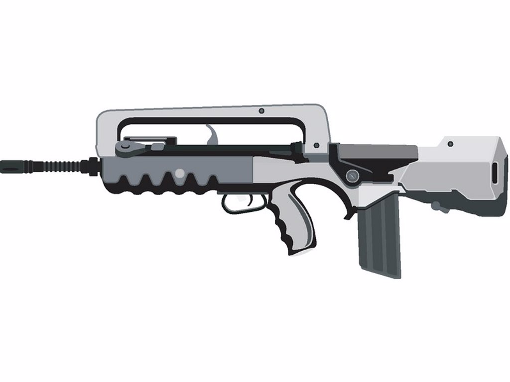 A closeup of a FAMAS-F1 assault rifle widely used in the French military : Stock Photo