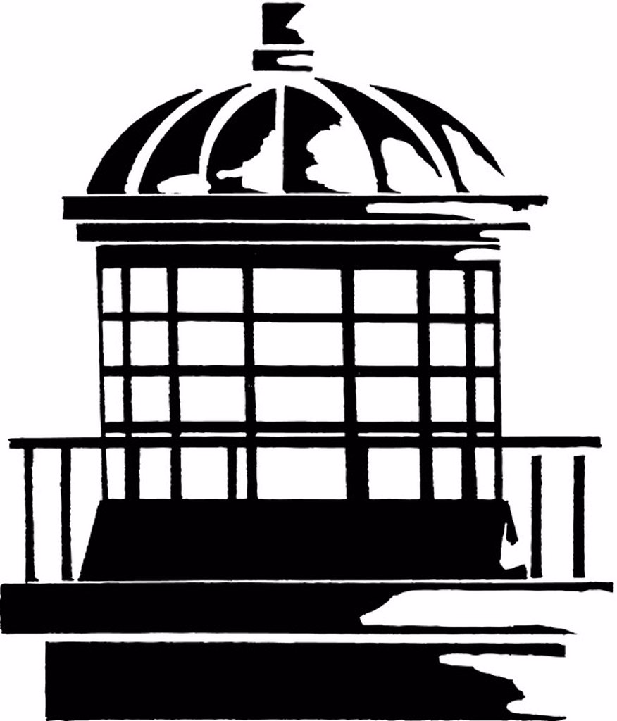 A black and white drawing of the top part of a lighthouse : Stock Photo