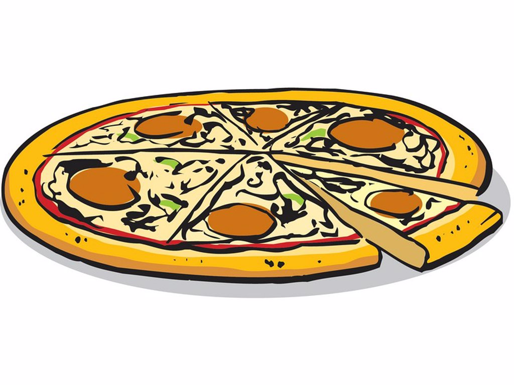 An illustration of a whole pizza : Stock Photo
