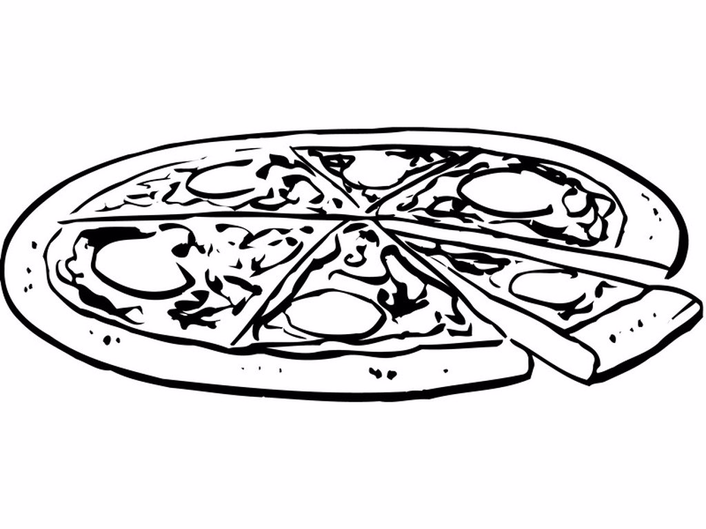 An black and white illustration of a whole pizza : Stock Photo