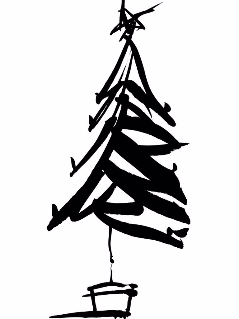 A black and white drawing of a christmas tree : Stock Photo