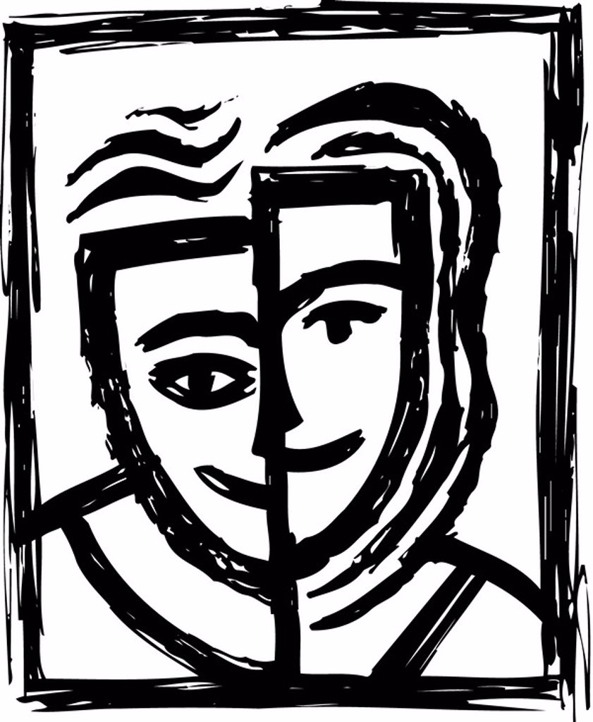 Black and white drawing of a man and woman : Stock Photo