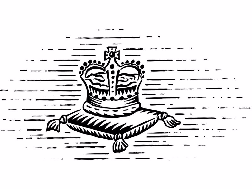 A black and white drawing of the royal crown : Stock Photo