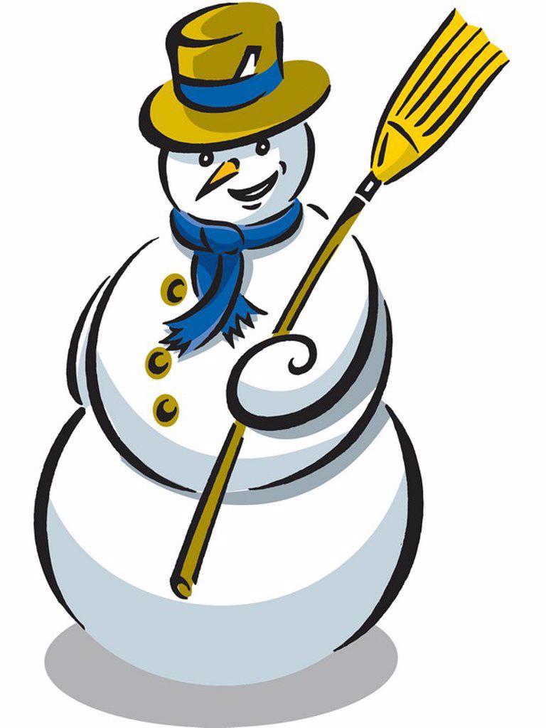 Stock Photo: 1538R-61346 A snowman wearing a blue scarf