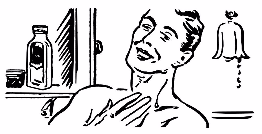 A black and white version of a vintage illustration of a man shaving in the morning : Stock Photo