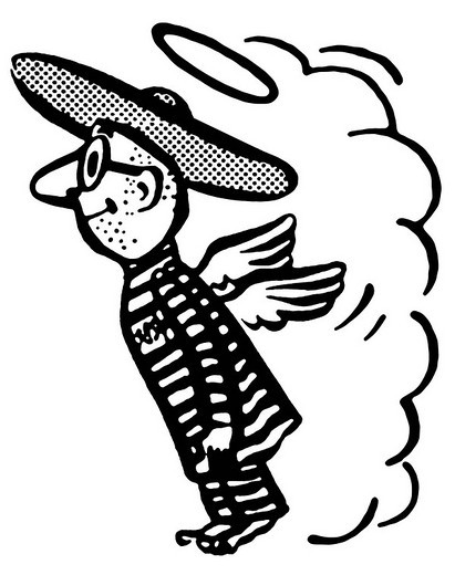A black and white version of a flying man in a sombrero : Stock Photo