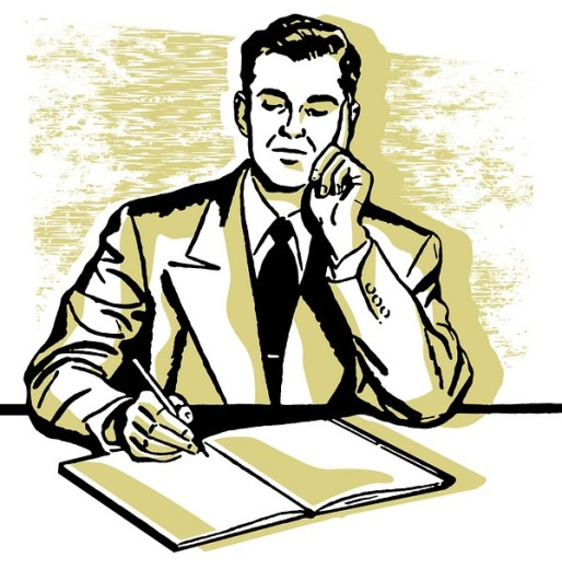 A graphic illustration of a business man working hard at his desk : Stock Photo
