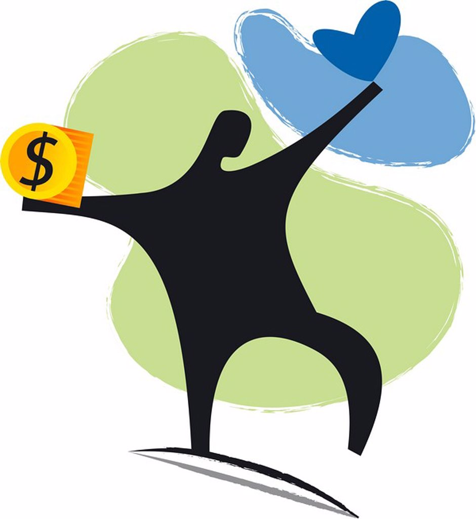An illustration of a figure holding a heart in one hand and a dollar symbol in the other : Stock Photo