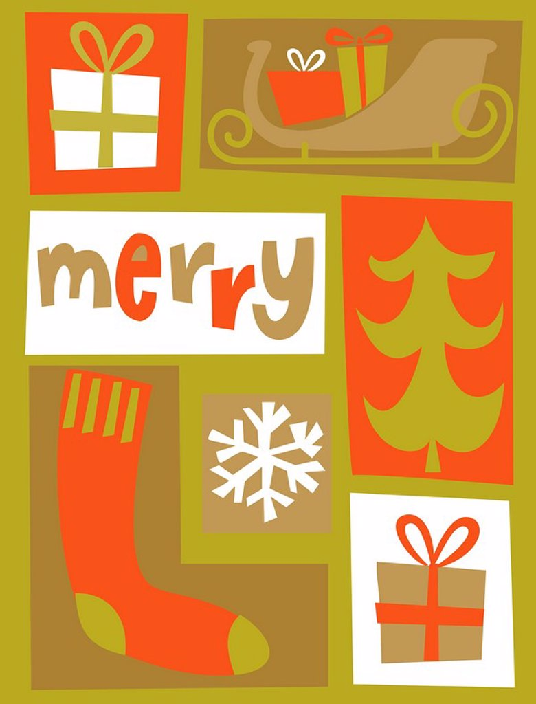 Stock Photo: 1538R-62239 A Christmas collage with the word Merry