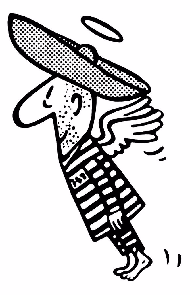 Stock Photo: 1538R-62252 A black and white version of a flying man in a sombrero