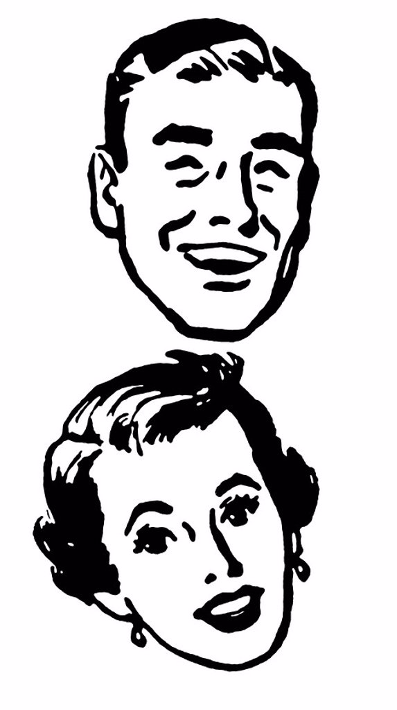 Stock Photo: 1538R-62608 A black and white version of a vintage portrait of a happy looking couple