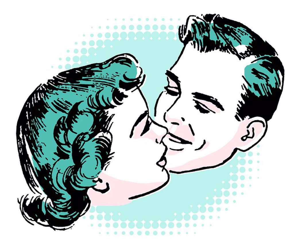 A vintage illustration of a couple embracing : Stock Photo