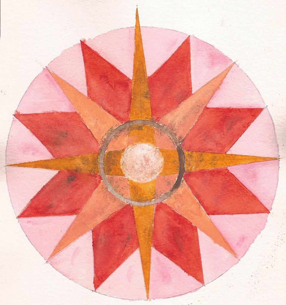 A painting on textured paper of a compass in shades of pink and orange : Stock Photo