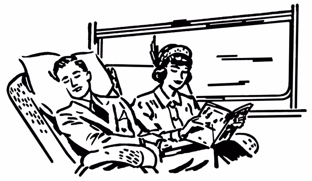 A black and white version of a vintage illustration of people on a train : Stock Photo