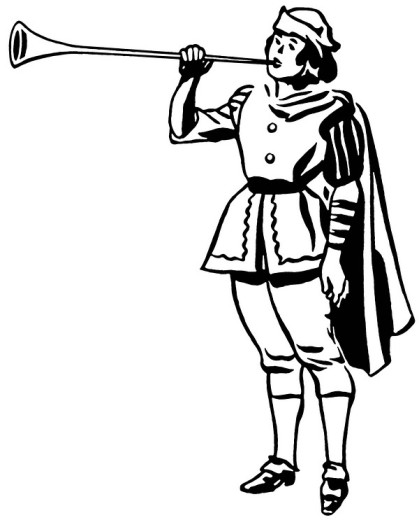 A black and white version of a drawing of a man in a renaissance era playing a horn or trumpet : Stock Photo