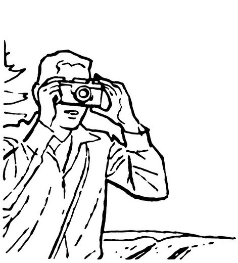 A black and white version of a vintage drawing of a man taking a photograph : Stock Photo