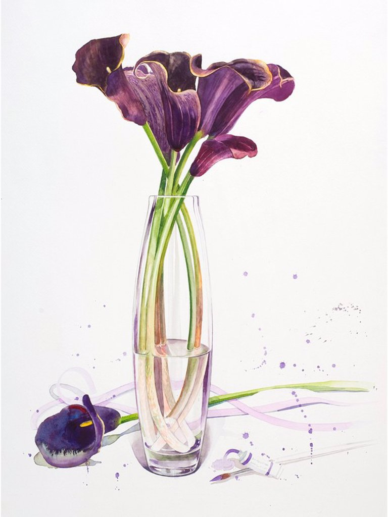 Tall stemmed purple lilies in a vase : Stock Photo