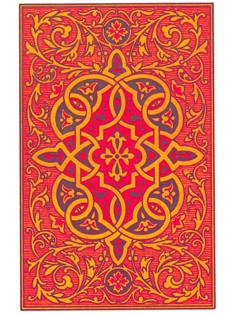 Ornate decoration on the backside of a deck of cards : Stock Photo
