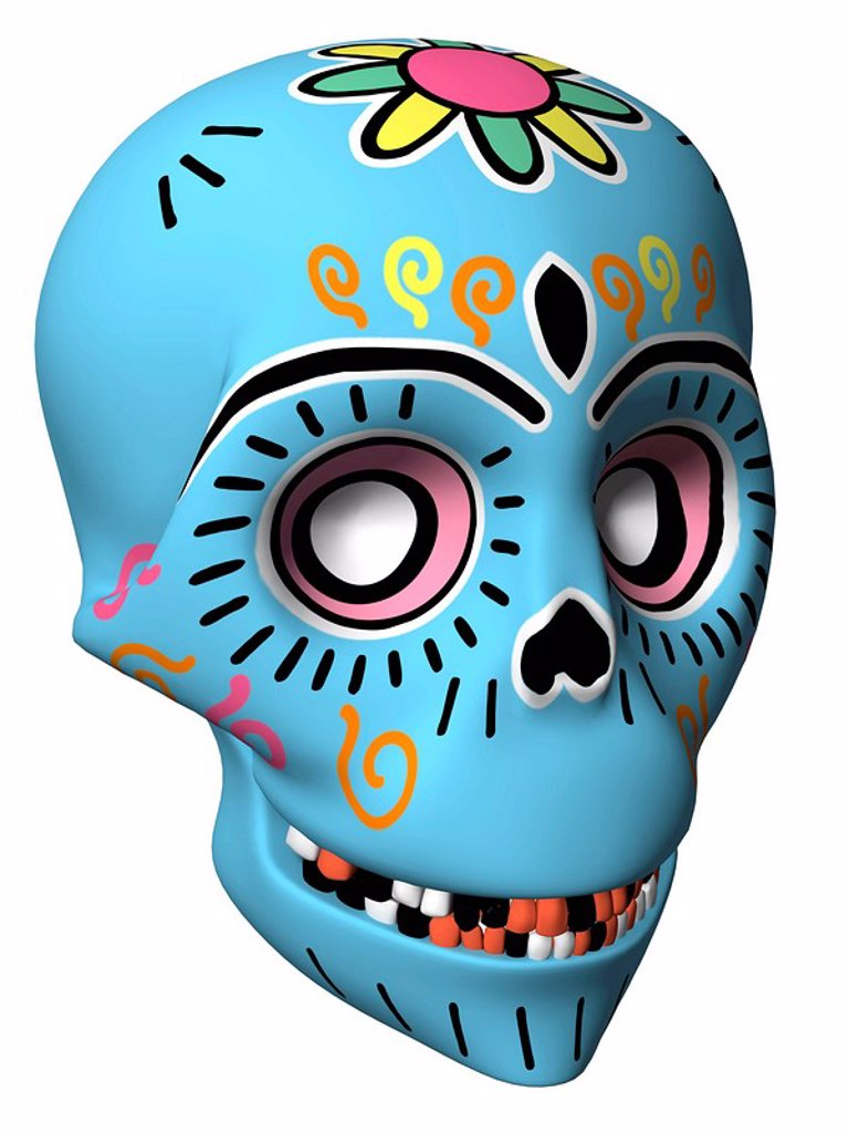 Stock Photo: 1538R-63290 A Dia de Los Muertos or Day of the Dead style skull in a 3D style