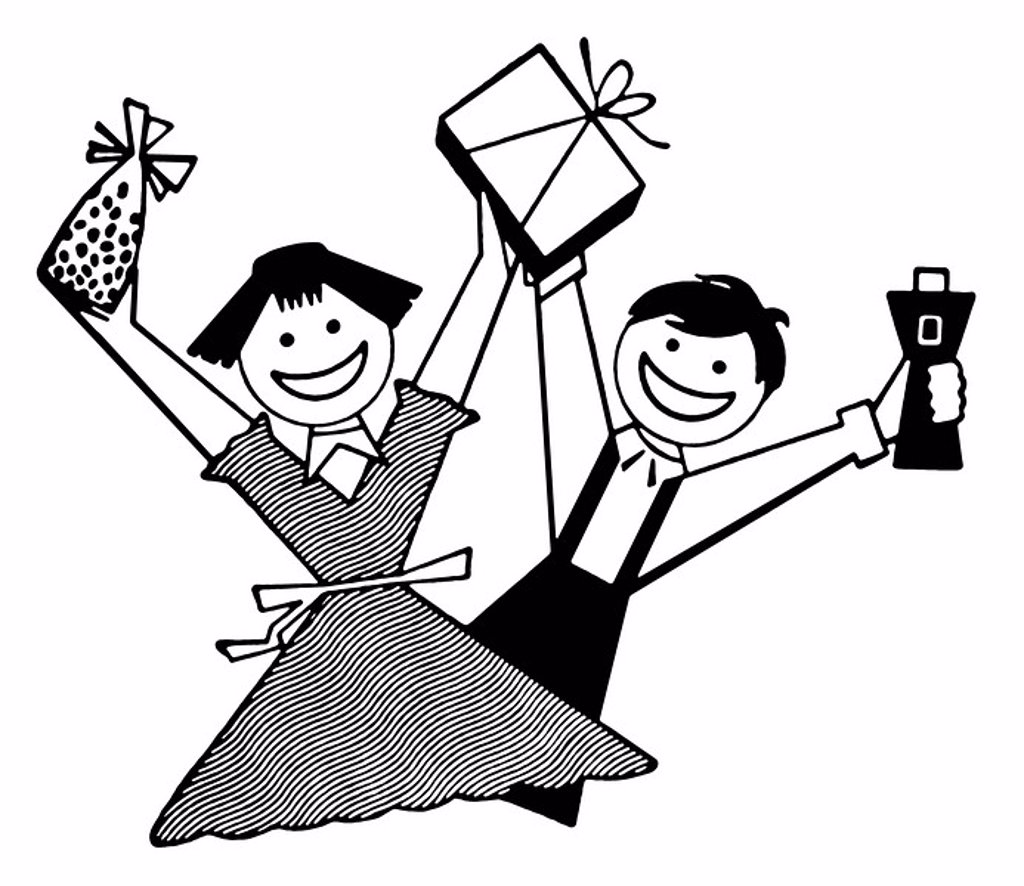 A black and white version of two children overjoyed with their gifts : Stock Photo