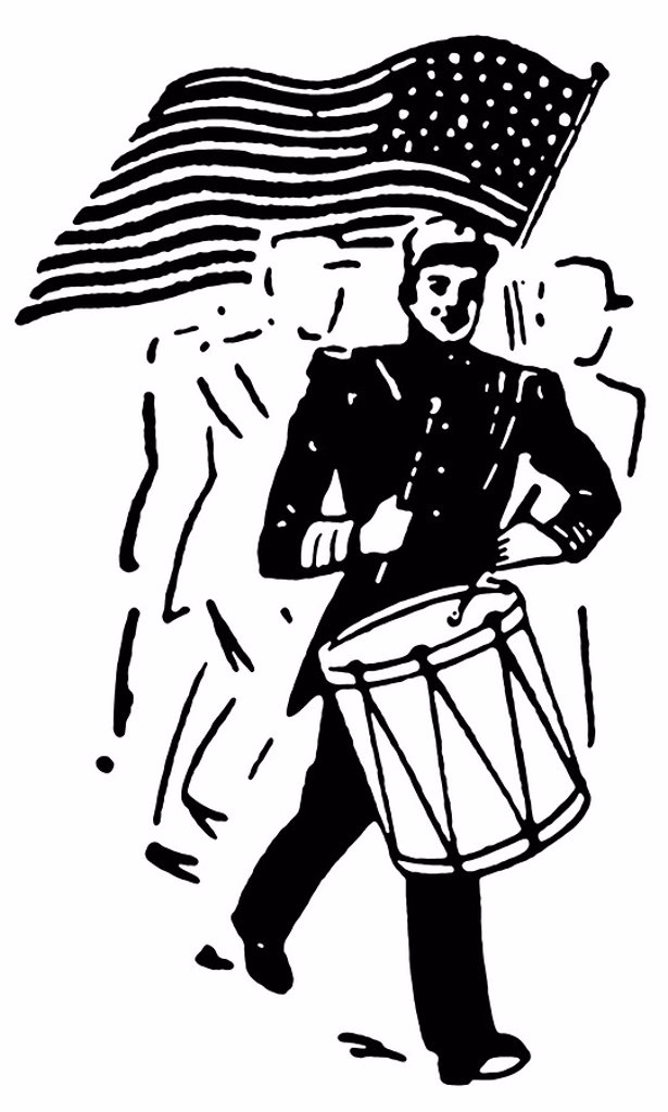 A black and white version of a drummer and American flag : Stock Photo