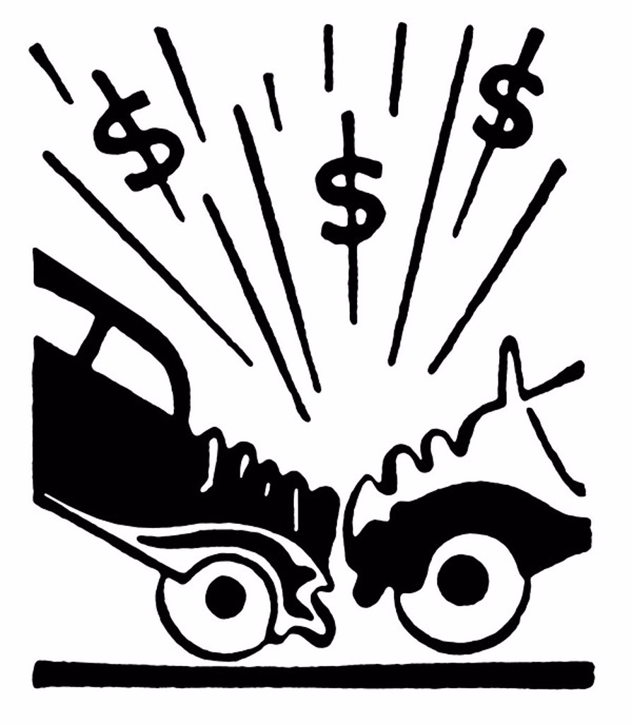 A black and white version of an illustration of a car accident and resulting in dollar signs : Stock Photo