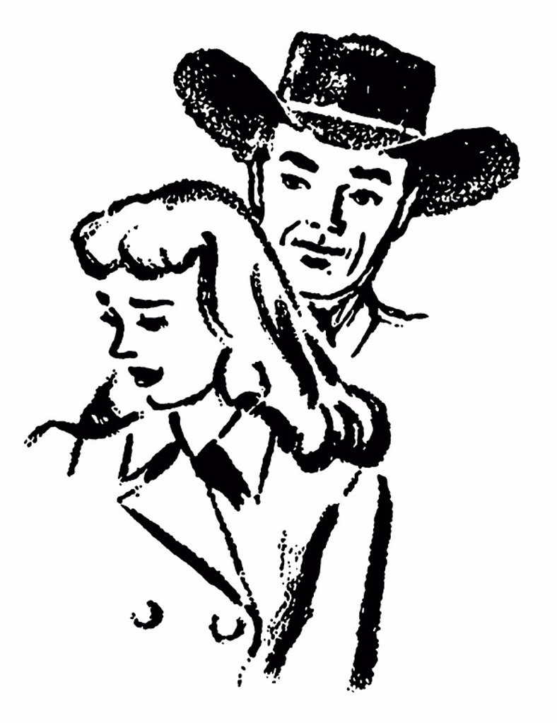 A black and white version of an illustration of a cowboy and a sad looking woman : Stock Photo