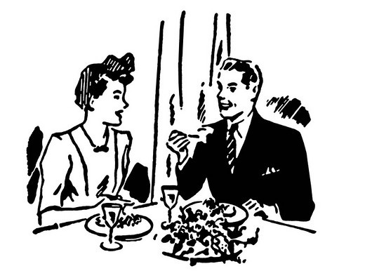 A black and white version of a vintage illustration of a couple enjoying a meal at a restaurant : Stock Photo