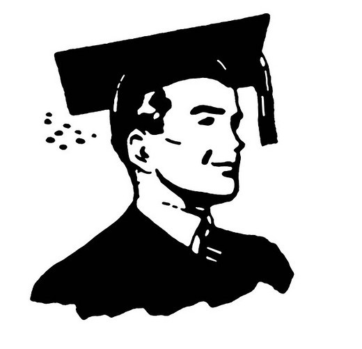 A black and white illustration of a graduate : Stock Photo