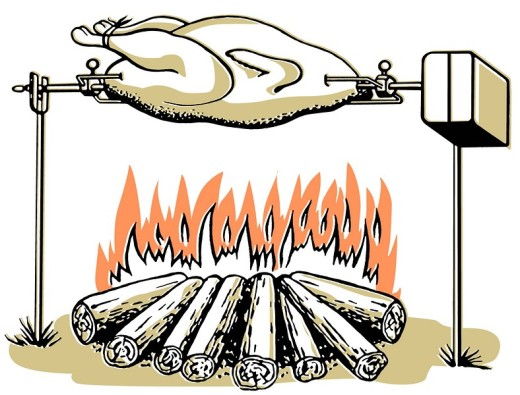 An illustration of a chicken roasting on an open fire : Stock Photo