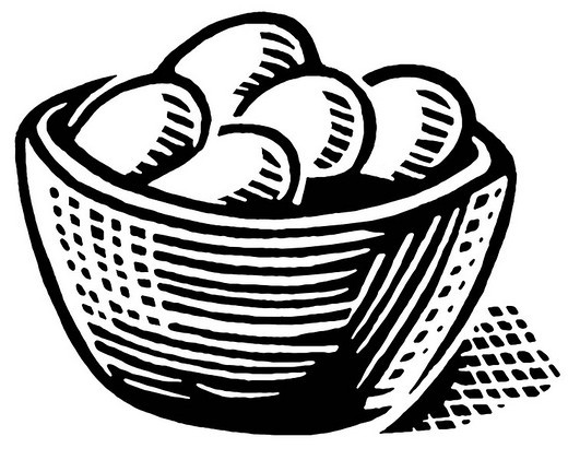 A black and white version of a print of a basket of eggs : Stock Photo