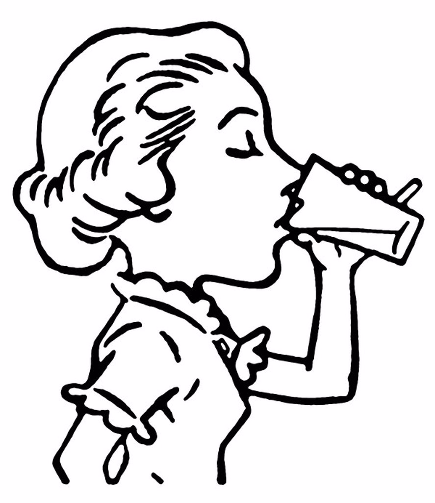 A black and white version of a line drawing of a woman enjoying a refreshing drink : Stock Photo