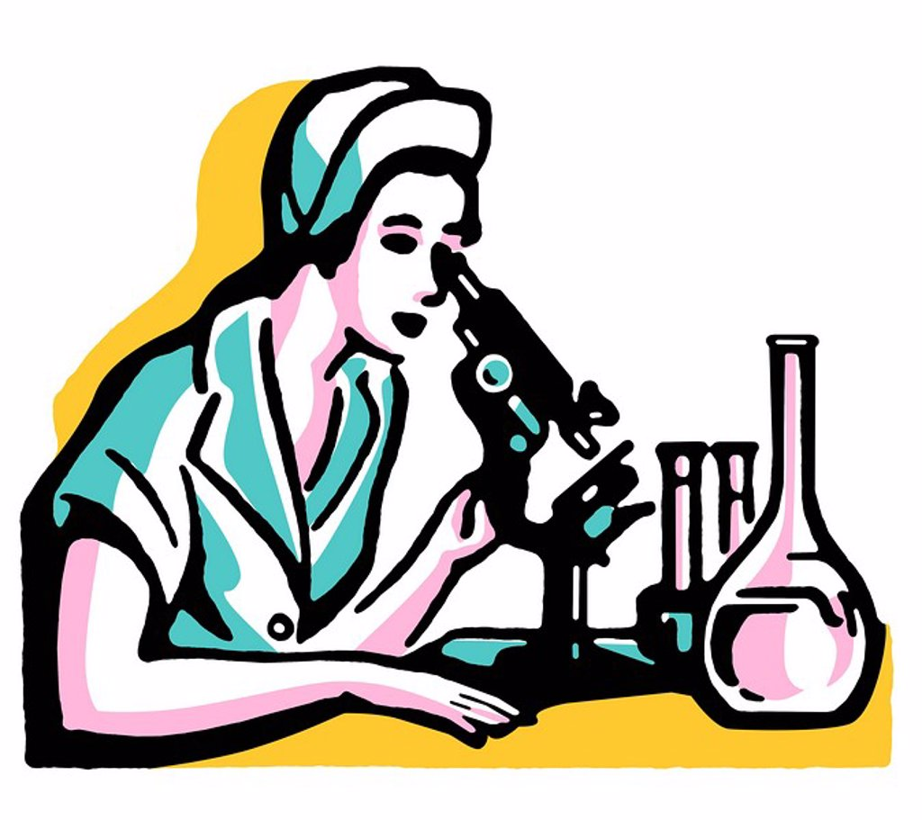 Stock Photo: 1538R-63799 A vintage illustration of a woman looking into a microscope