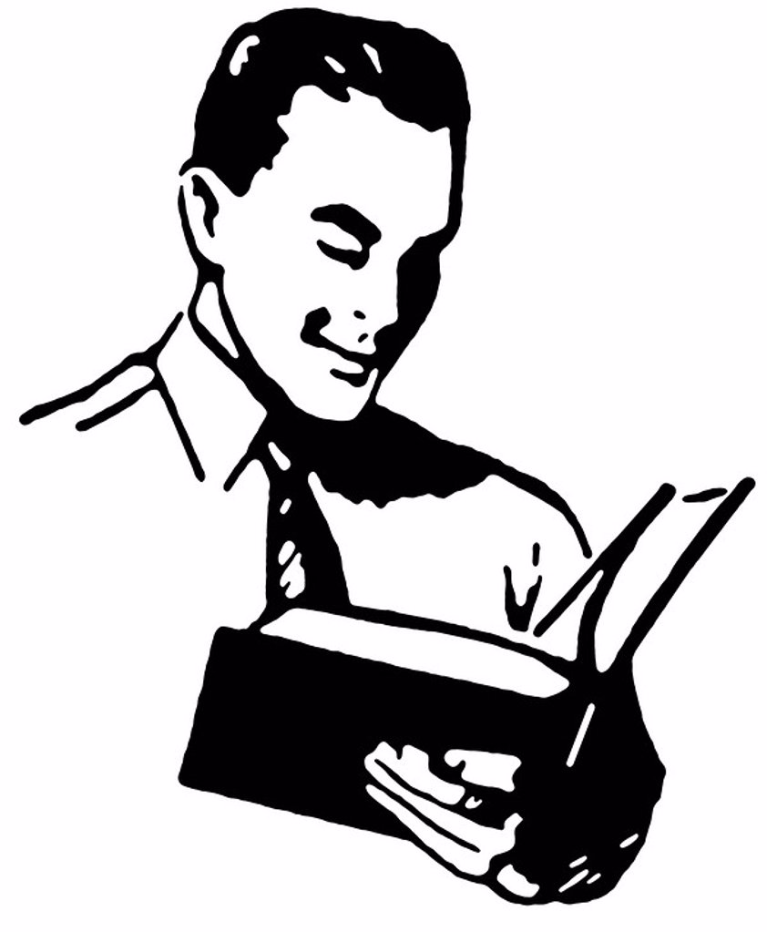 A black and white version of a vintage drawing of a man reading a book : Stock Photo