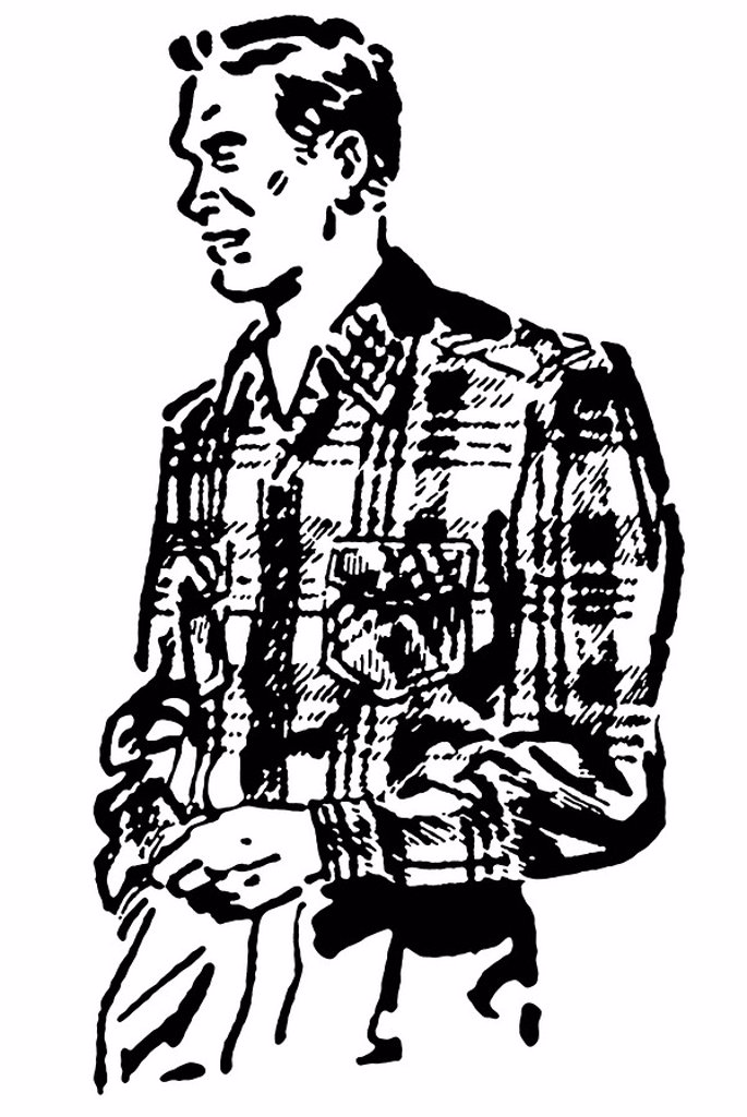 Stock Photo: 1538R-63850 A black and white version of a vintage illustration of a man in a plaid shirt