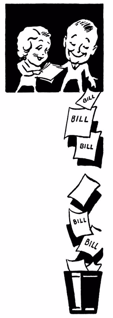 A black and white version of a couple dropping bills from great heights : Stock Photo