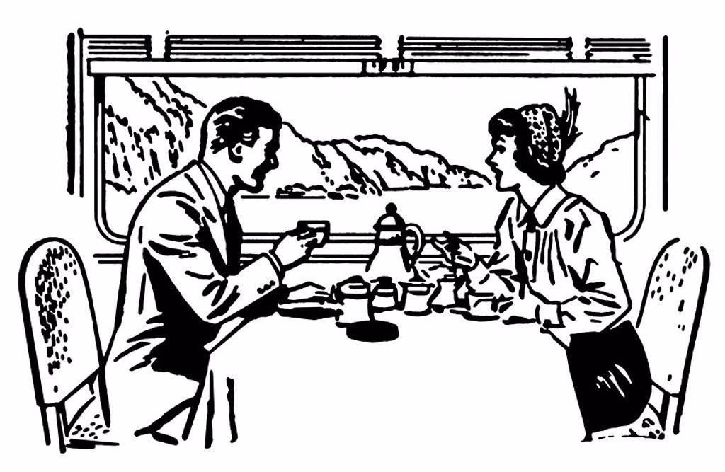 Stock Photo: 1538R-64199 A black and white version of a vintage illustration of a couple dining in a train restaurant