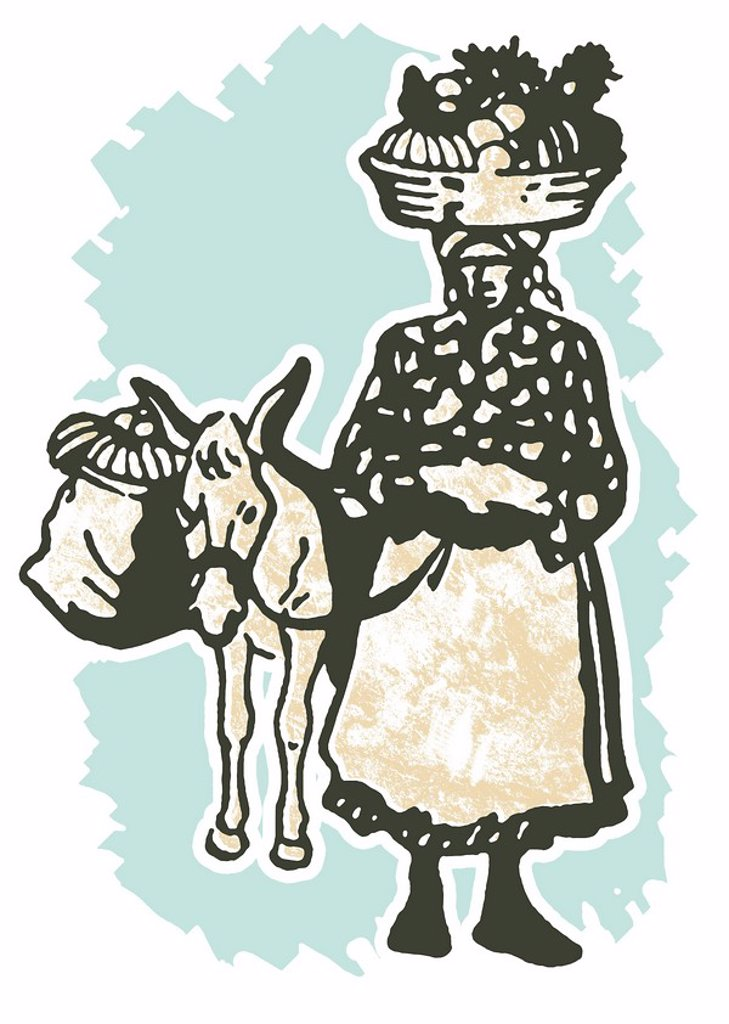 A vintage illustration of a woman carrying positions in a basket on her head : Stock Photo