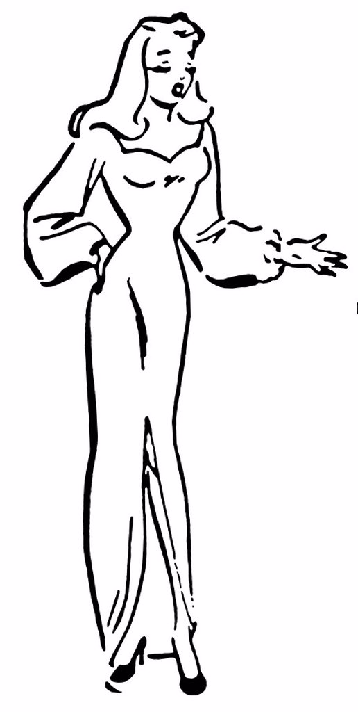 A black and white version of a vintage illustration of a woman pointing : Stock Photo