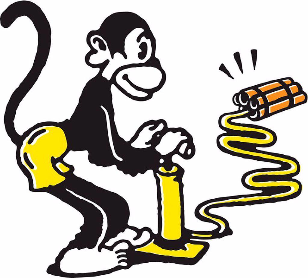 Monkey igniting dynamite : Stock Photo